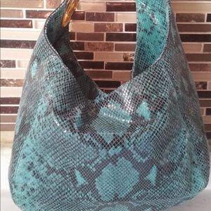 Authentic Michael Kors turquoise python hobo bag